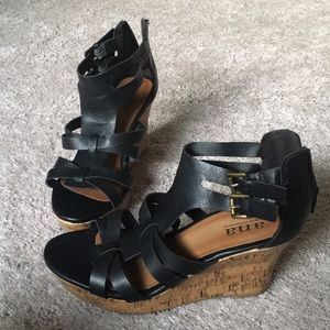 Black Wedge Heels 7M
